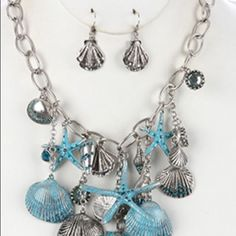 Sea life chunky charm necklace and earring set Chunky charm sea life starfish textured crystal stone link chain fish hook 18 inch long, 4 1/2 inch drop. Jewelry Necklaces