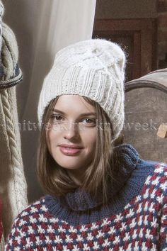 Woolly beanie keeps the head warm. Beanie worked in Novita Joki (River) yarn has check pattern formed by cable stitches. Fall Fashion Outfits, Knitting Accessories, Kids Hats, Knitting Designs, Knit Patterns, Beanie Hats, Baby Knitting, Mittens, Knitted Hats