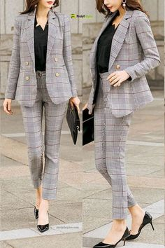 High Quality Plaid Business Suit This Plaid Pant suit is perfect for a day at the office, important meetings or an elegant dining experience. Women's Business Suit power dressing Business Outfit Frau, Business Outfits Women, Office Outfits Women, Business Dresses, Business Suits For Women, Formal Suits For Women, Business Fashion, Workwear Fashion, Suit Fashion