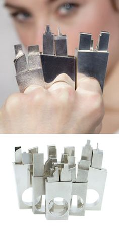 Rings that double up as funky brass knuckles. By Charlotte Reid.