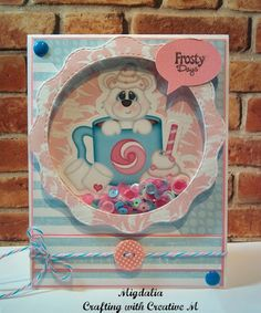 """Winter Shaker card with KBD """"Yummy Cocoa"""" image, Frosty Sequins Mix & Raspberry Cupcake Sequins, &  Bubblegum Taffy Trendy Twine from Annie's Paper Boutique, and Bunch of Fun Circle Dies from My Creative Time."""