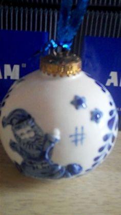 4 Beautiful Delft Xmas Christmas Baubles Tree Balls New Boxed Ceramic   eBay