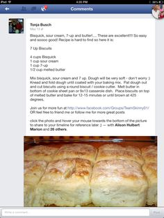 Sour cream biscuits I use this recipe only with Pioneer baking mix. Bread Recipes, Cooking Recipes, Yummy Recipes, Bisquick Recipes, Recipies, My Favorite Food, Favorite Recipes, Good Food, Yummy Food