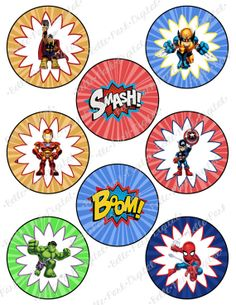 Digital Superhero - Superhero Squad - Super hero - Avengers Printable Birthday Party Cupcake Toppers