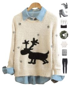 """""""8 days till Christmas!"""" by genesis129 ❤ liked on Polyvore featuring Paige Denim, Valentino, H&M and vintage"""