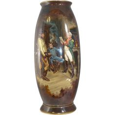 "Rare Monumental Early hand painted Royal Bonn Floor vase signed ""Beerbohm Nach Mussonier"" from Jerry's Vintage Treasures LLC on Ruby Lane"