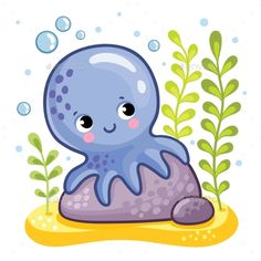 Buy Octopus Sits on a Rock by svaga on GraphicRiver. Cute octopus sits on a rock. Octopus on the seabed. Vector illustration in a childrens style.