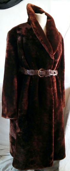 EXCELLENT BON MOUTON (SHEARED LAMB) FUR COAT JACKET WOMEN  SIZE 3XL  #Handmade