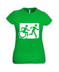 Accessible Means of Egress Icon (Running Man and Wheelie Man Right Hand) Wheelchair Exit Sign Design Sign Design, Cart, Cotton, Clothes, Running Man, Exit Sign, Signs, Outfit, Hall Runner