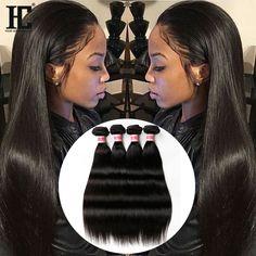 200g Brazilian Virgin Hair Straight 2Bundles 100% Human Hair Extensions Weft 18' #HCHair #StraightBundle