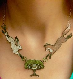 Fox, Hare, and Moon Tree necklace                                                                                                                                                                                 More