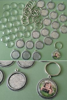 Photo Jewelry Supplies pack to make 20 round photo keychains with 30mm photo area. Includes 20 vintage edged blank frames, 20 pieces heavy domed glass, and 20 s