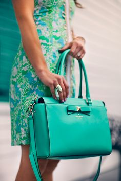 Teal purse and floral dress fashion blue floral ring style prints classic purse outfit teal preppy patterns