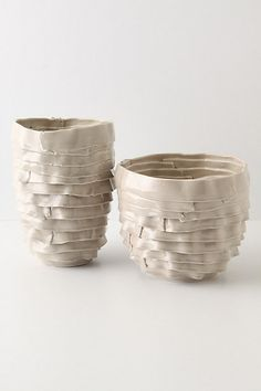 :Anthropologie white clay vases