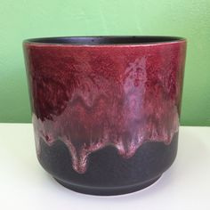 West Germany Pottery Larger Dark Brown/Maroon Drip Glaze by VINTAGE PLANTERS, POTS & TROUGHS