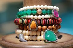 Green Onyx w Gold Pave Diamond Ball Emerald by HappyGoLuckyJewels