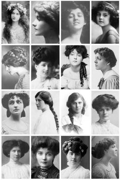 Edwardian Era hairstyles. 1901 - 1910.