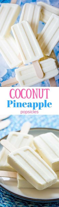Pineapple Popsicles Creamy, smooth Coconut Pineapple Popsicles are made with only and couldn't be easier to prepare! Creamy, smooth Coconut Pineapple Popsicles are made with only and couldn't be easier to prepare! Frozen Desserts, Frozen Treats, Just Desserts, Delicious Desserts, Dessert Recipes, Weight Watcher Desserts, Pineapple Popsicles, Mantecaditos, Homemade Popsicles