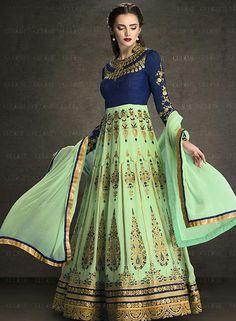 Excellent Mint #Green #Anarkali Suit @ http://www.indiandesignershop.com/product/excellent-mint-green-anarkali-suit/