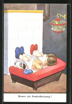 Künstler-AK John Wills: Besser als Zentralheizung!, Kinder wärmen Füsse an…