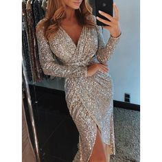 Sheinstreet Spring and Summer sexy Sparkling v neck high split Sequins Maxi dress skirt Sequin Maxi, Sequin Party Dress, Sequin Cocktail Dress, Evening Dresses, Prom Dresses, Long Sleeve Party Dresses, Dress Prom, Trend Fashion, Ladies Fashion