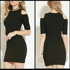 Sexy brandnew bodycon open shoulder forever21 lbd Super sexy brand new never worn black bodycon forever 21 dress with open shoulder details great stretch Forever 21 Dresses
