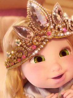 Baby Rapunzel from the Disney movie Tangled Disney Rapunzel, Disney Pixar, Rapunzel Crown, Disney Babys, Princess Rapunzel, Tangled Rapunzel, Disney And Dreamworks, Disney Animation, Disney Magic