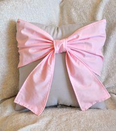 Throw Pillow - Decorative Pillow -  Light Pink Big Bow on Light Gray Pillow.