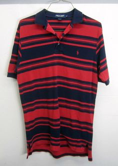 vtg Ralph Lauren Polo Golf Rugby Shirt striped red & navy pique cotton long sz M | Clothing, Shoes & Accessories, Men's Clothing, Casual Shirts | eBay!