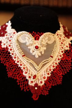 VICTORIAN RHINeSTONe HeART NECKLACE - Christmas-Valentines Day-Sweetest Day - Neo-Renaissance Romantic - VENISE Heart - 5 inches long. $125.00, via Etsy.