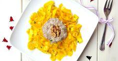 Raw Tagliatelle with Mushroom and Walnut Sauce + Saffron