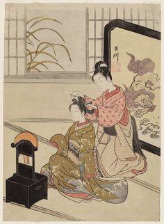Suzuki Haronobu Autumn Moon of the Mirror Stand, from the series Eight Views of the Parlor (Zashiki hakkei)