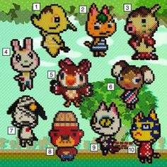 Perler Animal Crossing Villagers - Tier Crafted carefully with a very high quality standard, every time. Comes with your choice villager, a customized message from your new Perler pal, and the option of a free magnetic back. Perler Bead Designs, Melty Bead Designs, Perler Bead Templates, Diy Perler Beads, Pearler Bead Patterns, Perler Patterns, Animal Crossing, Pixel Art, Art Perle