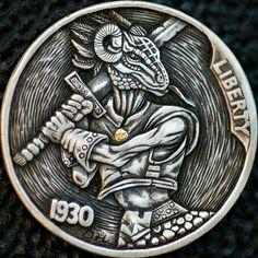 Hobo nickel 1930 buffalo nickel. Gold inlay. Artist David HJ. He. Hobo Nickel, Buffalo, Water Buffalo