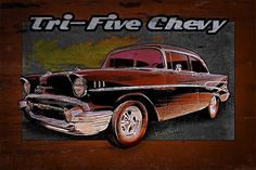 Tri-Five Chevy Wall Rider 1957 Belair from VivaChas has a Super Case of the Grunge and Dot done up 4 a Limited Edition Poster from VivaChas Hot Rod Art!
