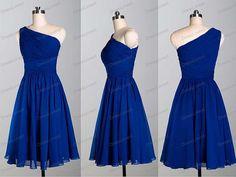 Royal Blue Bridesmaid Dress/Short One Shoulder par DressLovest, $84.00
