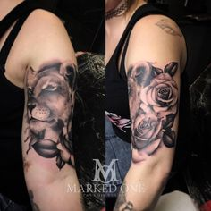 Rose and lioness tattoo. Girly tattoo, start of sleeve. Lion tattoo. Black and grey tattoo.