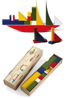 Bauhaus apprentice Alma Siedhoff-Buscher originally made this toy in 1923. Comprised of cubes, cylinders and other shapes in a multitude of ...