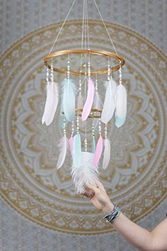 Dream Catcher Mobile Large Pastel Chandelier - 12x18Inches Dreamcatcher Mobile Dreamcatcher Mobile Bohemian Dream Catcher Nursery Mobile Baby Mobile Boho Decor Wedding Decor