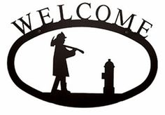 Village Wrought Iron Small Welcome Sign-Plaque - Fireman Metal Welcome Sign, Welcome Home Signs, Wrought Iron Decor, Front Door Signs, Outdoor Signs, Outdoor Decor, Wooden Signs, Black Metal, Decorative Accessories