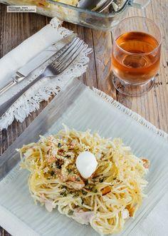 Receta de espagueti blanco navideña. Receta con fotografías del paso a paso y recomendaciones de degustación. Recetas de…
