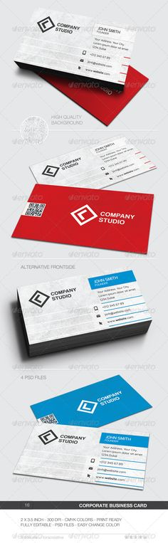 "Corporate Business Card - 16  #GraphicRiver         Business card for any idustry.  	 Features. 2.0×3.5 (2.25"" x 3.75"" with bleed) 300 DPI CMYK Print Ready! Full Editable, Layered PSD File  	 Font used. Exo  .fontsquirrel /fonts/exo Coolvetica  .dafont /coolvetica.font     Created: 24November13 GraphicsFilesIncluded: PhotoshopPSD Layered: Yes MinimumAdobeCSVersion: CS PrintDimensions: 2.25x3.75 Tags: beautiful #blue #brand #businesscard #clean #cmyk #color #colorful #colour #colourful…"