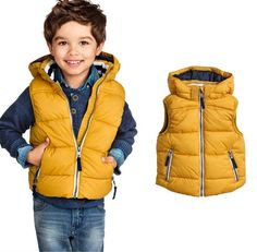 2014 fall children's clothing boys yellow quilted fleece -lined hooded vest jacket 14 $27.97