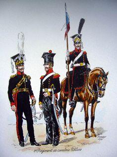 8 p.u. oficer i ułani kompanii wyborczej 1812/ Polish Uhlans 8 regiment : officer, uhlans of elite company 1812