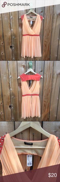 Selling this Coral & Leather Studded Open Back Dress on Poshmark! My username is: revolvingrack. #shopmycloset #poshmark #fashion #shopping #style #forsale #do & be #Dresses & Skirts