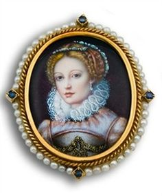 Antique Victorian Limoges Miniature Portrait Mounted in 18k Gold, Enamel, Pearl And Sapphire Frame