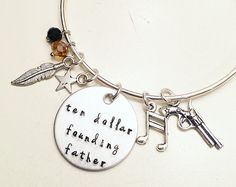 Ten Dollar Founding Father Alexander Hamilton the Musical Inspired Lyrics Hand Stamped Adjustable Bangle Charm Bracelet Hamilton Outfits, Hamilton Gifts, Hamilton Clothes, Cute Relationship Goals, Cute Relationships, Hamilton Musical, Hamilton Broadway, Hamilton Jewelry, Broadway Outfit