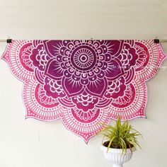 Large Lotus Mandala Wall Tapestry Beach Blanket Hippie Home Decor Choose Color
