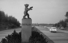 Statue of the Berlin bear near boarder of east and west Berlin — March 1959 — Photographer: Mark Kauffman