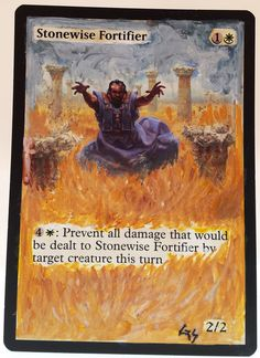 MTG Altered Art Stonewise Fortifier Hand Painted Full Art OOAK Magic Card #WizardsoftheCoast :~)